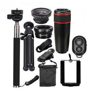 Telescope Telephoto Wide-Angle Macro Fisheye Lens Since The Shaft Tripod 10 in 1 - BLACK