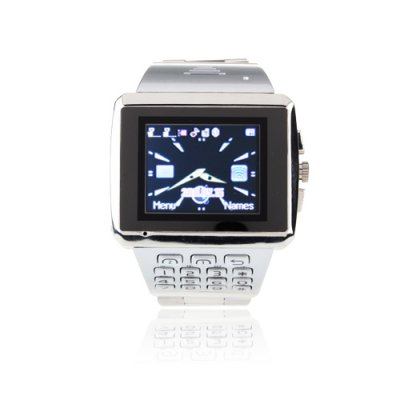 X8 Watch Phone Dual SIM Card WiFi Java Bluetooth 1.5 Inch Touch Screen Cellphone - Silver