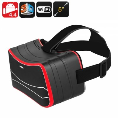 Android 3D VR Glasses - 3D Side By Side, Gyroscopic Sensor, 5 Inch HD Screen, Quad Core CPU, Wi-Fi, Bluetooth, Micro SD Slot