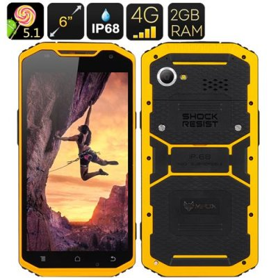 MFOX A10 Rugged Smartphone - 6 Inch 1920x1080 Screen, 64 Bit MTK6752 Octa Core, IP68, 2GB RAM, 4G, Android 9.1 (Yellow)