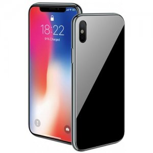360 Magnetic Metal Bumper Tempered Glass Case For iPhone X - BLACK
