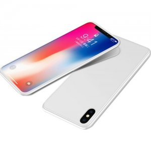 For IPhone X Case Magnetic Metal Frame Tempered Glass Back Magnet Flip Cover - WHITE