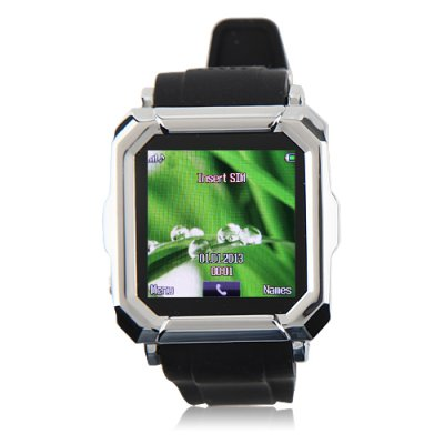 i900 Watch Phone Single SiM Card Camera Bluetooth FM Anti-lost Alarm 1.54 Inch Touch Screen - Silver + Black