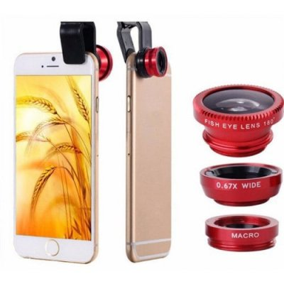 Universal 3 in 1 Wide Angle Macro Fisheye Mobile Phone Lenses Kit with Clip Fish Eye Lens - RED
