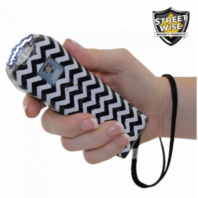 Ladies' Choice 21 Million Volt Black Pattern Stun Gun + Flashlight w/ Alarm