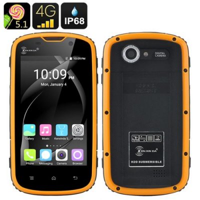 Ken Xin Da Rugged Smartphone - IP68, Shock Proof, 4 Inch Touch Screen, Android 9.1, 4G, Dual SIM (Yellow)