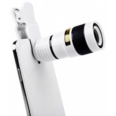Universal 8X Optical Zoom Telescope Camera Lens Clip Mobile Phone Telescope for Xiaomi - Huawei - Samsung - iPhone - WHITE