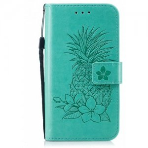 Embossing Pineapple Flower Flip Folio Wallet Case for Samsung Galaxy S6 Edge - LIGHT AQUAMARINE