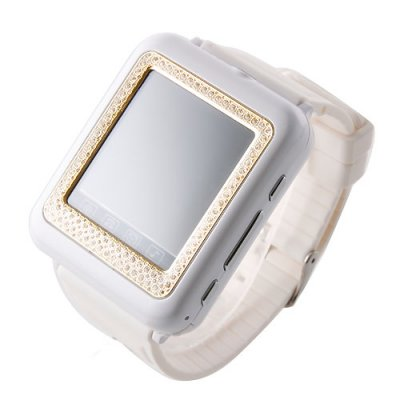 AK09+ Watch Phone with Diamonds Single SIM Card Camera FM Bluetooth 1.6 Inch Touch Screen- White & Golden