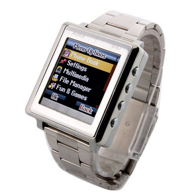 AK810A Watch Phone Metal Strap Single SIM Card Bluetooth Ebook 1.6 Inch Touch Screen- Silver