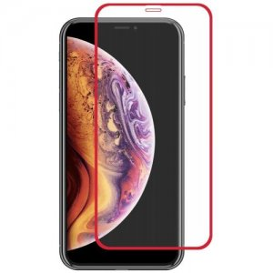Hat-Prince Full-size 0.26mm 9H 2.5D Full-screen Tempered Glass Color Protective Film for iPhone XR - RED