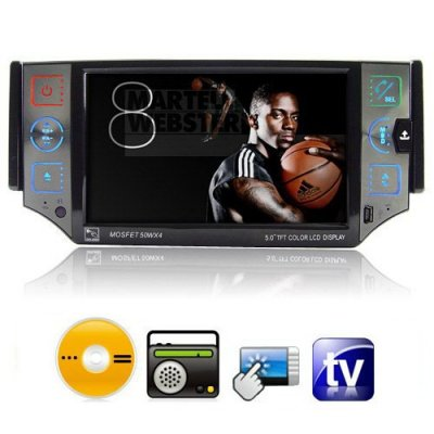 5.0 Inch TFT Touch Screen Car DVD Player with TV + FM Function