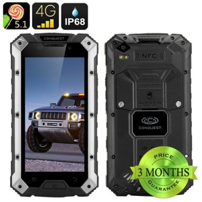 Conquest S6 Rugged Smartphone - IP68, 5 Inch HD Screen, 4G, Dual SIM Android 9.1, 3GB RAM, NFC (Silver Black)
