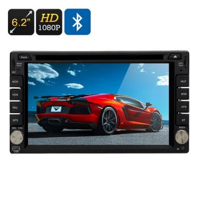 Touch Screen Car DVD Player - 6.2 Inch Screen, 2 DIN, GPS, Region Free, 1080P File Support, 4X45 Watt Speakers, Bluetooth