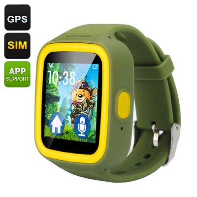 GPS Tracker Kids Watch Phone - GSM, 1.44 Inch TFT Touch Screen, Two-Way Communication, Pedometer (Green)