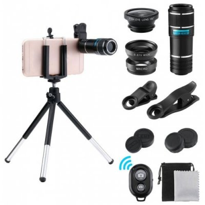 12X Phone Telescope 10 in 1 The Lens Suit - BLACK