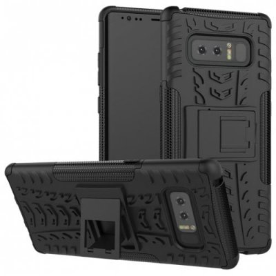 Case for Samsung Note 8 Shockproof Back Cover Armor Hard Silicone - BLACK