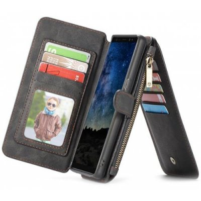 CaseMe PC + TPU Multifunctional 2-in-1 Card Slot Wallet Protective Phone Case Cover for Samsung Galaxy Note 9 - BLACK
