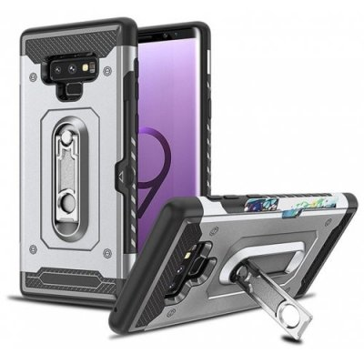 Wallet Card Holder Kickstand Hard Armor Cover Case for Samsung Galaxy Note 9 - SILVER