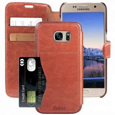 Leather Wallet Case with Credit Cards Slot for Samsung Galaxy S 7 - S7 - MAHOGANY