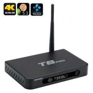 T8 Pro Android TV Box - Amlogic S812 Quad Core CPU, Android 9.1, Kodi, 4K, H.265, 2GB RAM, Airplay, DLNA, Miracast (Black)