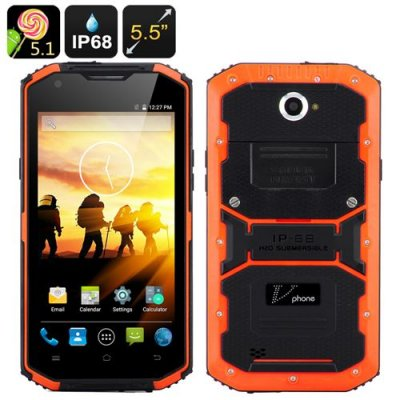V Phone X3 Rugged Smartphone - 5.5 Inch HD Screen, Android 9.1, IP68,Dual SIM, SOS Button, LED Flashlight, Android 9.1 (Orange)