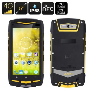 Android 4G Rugged Smartphone - 4G, 5 Inch Screen, Qualcomm Snapdragon 615 CPU, NFC, IP68, 2GB RAM, Walkie Talkie (Black)