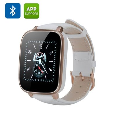Bluetooth 4.0 Smart Watch - 1.54 Inch 3D Screen, iOS + Android App, Call Answering, Notification, Heart Rate Sensor (White)