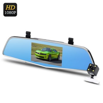 Dual Camera Rear Mirror Dash Cam - 1080P Full HD, 4.5 Inch LCD, Rear Camera, 170 Degree, Loop Recording