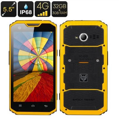 MFOX A7 Pro Rugged Smartphone - 5.5 Inch 1920x1080 Screen, MT6797 Octa Core CPU, IP68, 4G, Android 9.1, 3GB+32GB (Yellow)