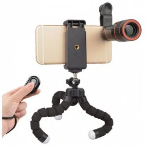 APEXEL APL-HS12XZJB Phone Photography Kit 12X Telescope Lens with Octopus Tripod - BLACK