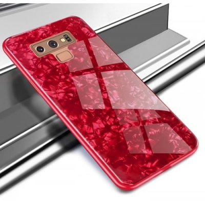 Glass Shell Mobile Phone Case for Samsung Galaxy Note 9 - RED