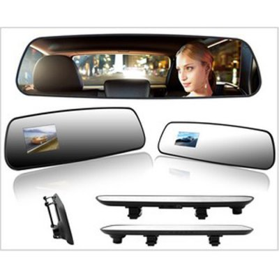 "R02 Super Slim 2.7"" TFT HD Car Camera DVR Car Black Box Rearview Mirror Oblong"