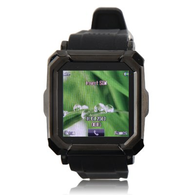 i900 Watch Phone Single SiM Card Camera Bluetooth FM Anti-lost Alarm 1.54 Inch Touch Screen - Black