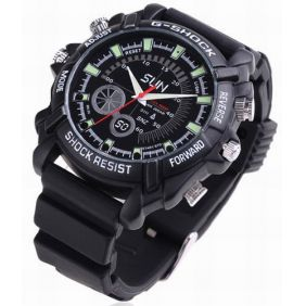 1080P IR Night Vision Waterproof Spy Watch with Rubber Bracelet 8GB