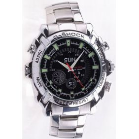 4GB Spy Watch with Stainless Steel Design 1080P IR Night Vision